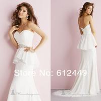 2014 New  White Long Lace Wedding Dress Sweetheart Beaded With Rhinestone  Elegant Court Train