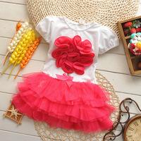 Free shipping New 2014 girl flower dress Kids Summer short-sleeve layered dress Children clothes Clothing Girls Dress Tutu