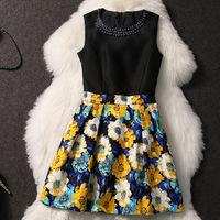 New 2014 Summer Brand Design High Waist Vintage Flower Print sleeveless one-piece Women Summer dress fluid print tank dress
