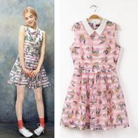 2014 summer fashion flowers and birds graphic patterns stripe one-piece dress organza sleeveless tank dress female
