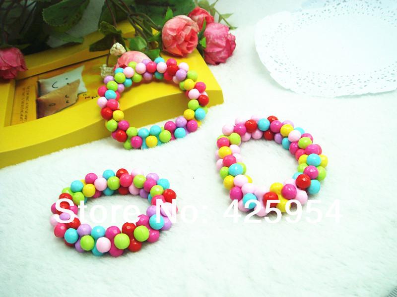 New 2014 Fashion Colorful Children Girl Bracelets Elastic Bands Wholesale 12 pcs / lot(China (Mainland))
