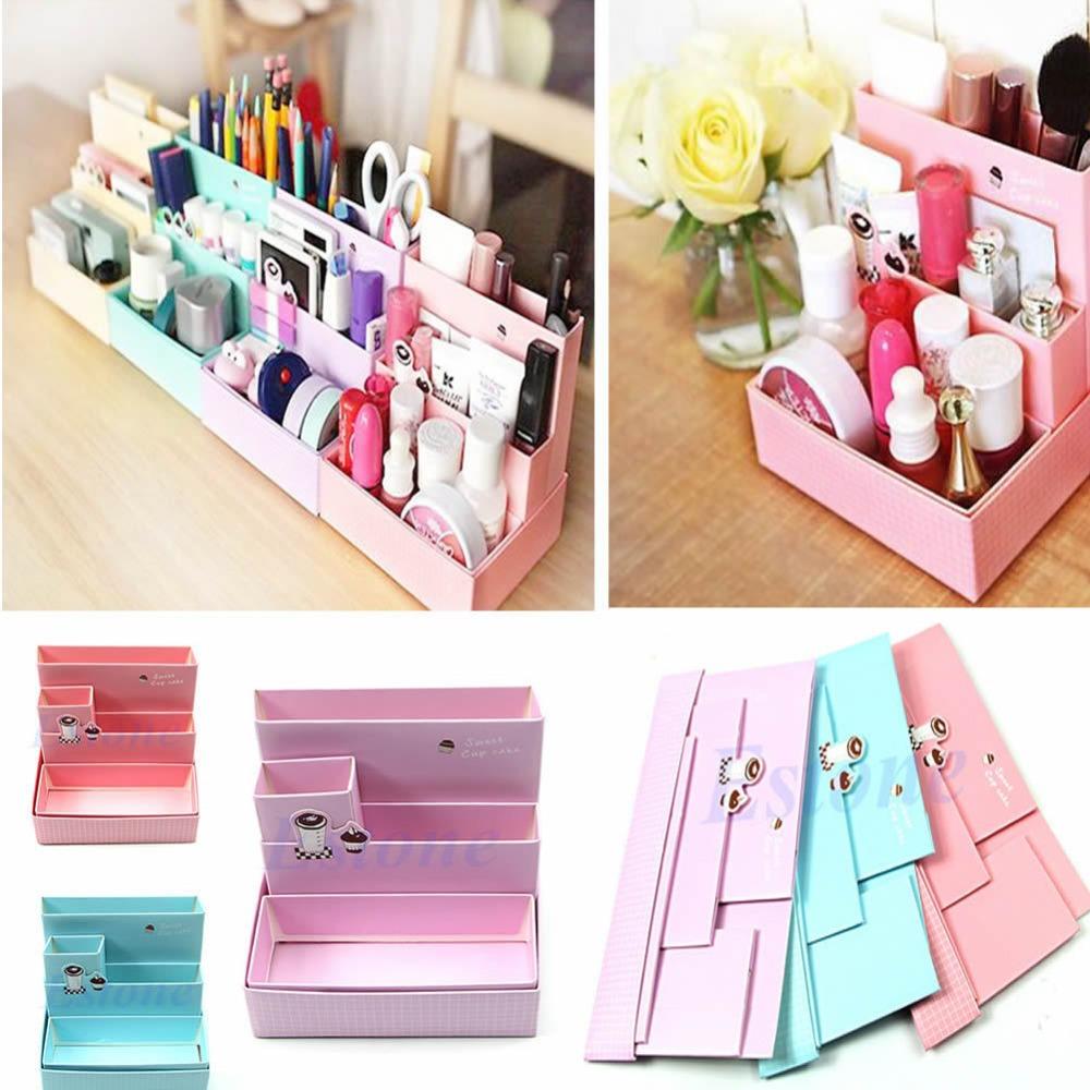 Free Shipping DIY Paper Board Storage Box Desk Decor Stationery Makeup Cosmetic Organizer New(China (Mainland))
