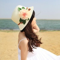 Women's summer hat folding sunbonnet sun hat bucket hat beach cap big sun hat strawhat