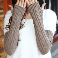 Autumn and winter thermal lovely yarn oversleeps semi-finger arm sleeve long sleeve gloves female