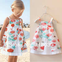 new children fashion 2014 summer girls baby kids  party print  dress brand flower dresses vestidos de menina Casual Clothes