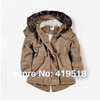 New 2014 Kids Down & Parkas For 2-10 Years Coats And Jackets For Children Girls Outerwear Hooded Girl's Winter Clothing Set