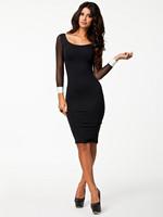 MC17947 Spring Fashion Women Sexy Long Sleeve Knee Length Black Bodycon Pencil Casual Dress Sheath Mesh Patchwork Bandage Dress