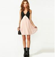 Free shipping 2014 new fashion women's pink patchwork v-neck party dresses ladies sexy chiffon open back vest dress vestidos