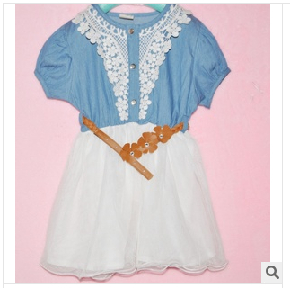 2014 New Children Clothing Good Quality Denim Net Yarn Girl Sweet Dress With Belt Short Sleeve Baby Kid's Princess Dress(China (Mainland))