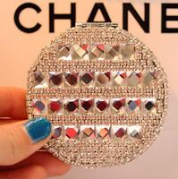 Crystal cosmetic mirror with folding portable metal mirror With high-grade rhinestone wedding gift