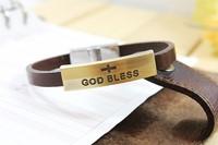 New 2014 Vintage Men Jewelry Antique Copper Bracelet Religious Ornaments (God Bless) brown Leather Bracelets & Bangles