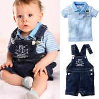 5pcs/lot baby boy summer clothing set, blue stripe T-shirt denim suspender shorts, baby rompers,cotton brand design clothing