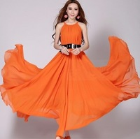 2014 Women Summer Big Size Slim Beach Vacation Bohemian Dress Fashion High Street Long Chiffon Dress with Belt 6 Colors