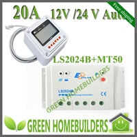 Free shipping 12V/24V auto 20A solar charge controller regulator with MT50 remote meter LCD Display