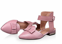 Swiss polyphenols Liya spring and summer European leg buckle leather shoes pointed shoes bow flat sandals Baotou
