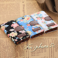 2014 new arrived! Flower Floral Print cloth Garden style Leather Flip Case function card money holder stand For iphone 5C cover