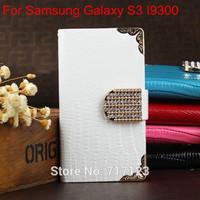 1xLuxury Wallet Bling Rhinestone Lizard Leather Case For Samsung Galaxy S3 Neo GT-I9301 SIII Duos SIII Neo+ i9300i  Free Ship