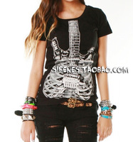 Hot Sale 2013 spring and summer avril abbey skull skeleton guitar rock t-shirt punk women's short-sleeve T-shirt ballinciaga