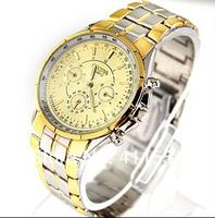 Geneva Men Stainless Steel Watches 2014New Women Dress Analog Gold wristwatches Men Casual Watch Unisex Quartz watches