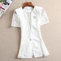 Free Shipping New 2014 Spring And Summer Fashion Women Organza Cutout Design Short-sleeve Slim Short Lace Blazers Female