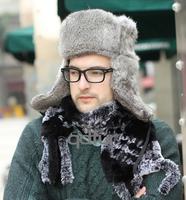 Autumn Winter Women's Genuine Real Rabbit Fur Bomber Hats Lady Warm Earcap Female Headgear QD30262