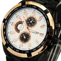 Top Sale! White Face With Golden Ege Men's Man Analog Dress Hours Clocks Quartzs Wrist Watch With Calendar