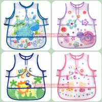 8 pcs/lot 2014 NEW Summer baby bib short-sleeve bib rice pocket pvc transparent short-sleeve bibs bib for boy and girl
