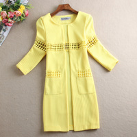 Free shipping 2014 spring and autumn elegant casual suit fashion trench all-match medium-long cutout thin outerwear female