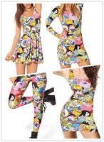 EAST KNITTING New 2014 Adventure Time Bro Ball Girl Leggings fashion  women Digital print Galaxy Pants Free shipping