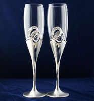 Free Shipping! Silver Plated Champagne Flutes with Double Rings (Set of 2)
