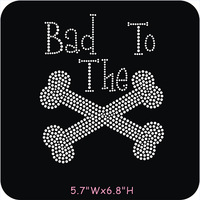 FREE shipping 45pcs/lot Bad to the Bone Rhinestone Iron On Transfers Bling For T Shirts