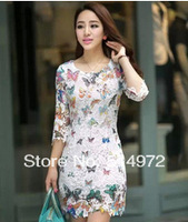 Spring 2014 Casual Women Butterfly Floral Lace Embroidery Patterns Novelty Print Dresses Free Shipping