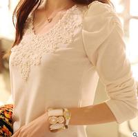 new direct selling button regular fashion 2014 8024 women blouse rhinestones basic long-sleeve plus size solid blouses t shirts