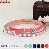 Fashion fashion rhinestone inlaying candy color thin belt strap crystal decoration elegant 284wp
