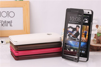 Newest Flip leather Full Window Case touch screen Ultra slim case for HTC ONE M7 802W 802t 802D DUAL SIM CARDS +Screen Protector