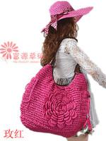 New arrive summer fashion bag straw knitted fashion beach bag women petal one shoulder bag