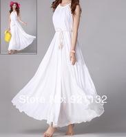 Free Shipping 2014 Women's New Fashion High Quality Bohemian Style Tied Back Sleeveless Casual Beach Slim Long Maxi Dress