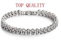(3 pcs/lot) Top Quality  AAA Zircon & REAL Platinum Plated Rome Bracelet Free Shipping
