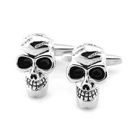 Pensee Fashion Skull Black Enamel Copper Skeleton Cufflinks for Mens with Nice Case #60