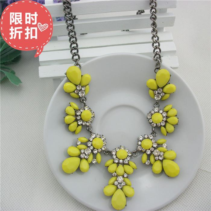 Acessórios de moda acrílico amarelo cair all- jogo colares de resina feminino(China (Mainland))