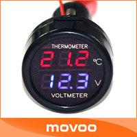 Dual Red Blue Digital Display 2in1 Digital Car Voltmeter Thermometer  12V/24V  Car/SUV/BUS Digital Temperature Voltage Meter