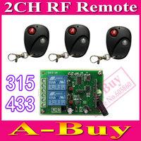 DC 12V 2 CH 2CH RF Wireless Remote Control Switch System,3 X Transmitter + 1 X Receiver,315/433 MHZ