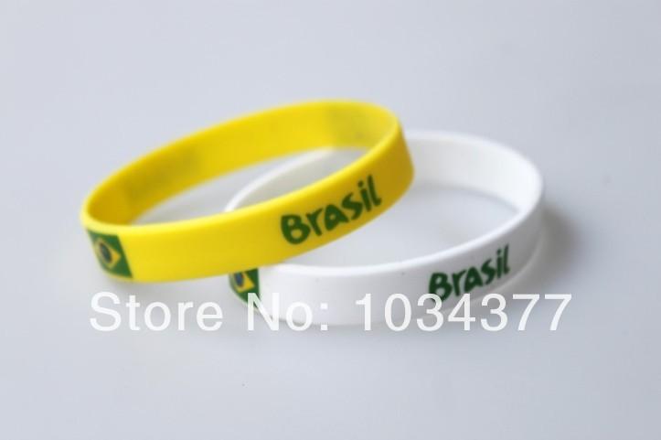 2014 World Cup Fans Sport wrist Brazil Brazilian national sports wrist bracelet unisex bracelet radiation mix color(China (Mainland))