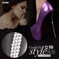 Free shipping Kvoll women pumps 2014 new fashion rhinestone waterproof ultra high heels women shoes size(35-40)