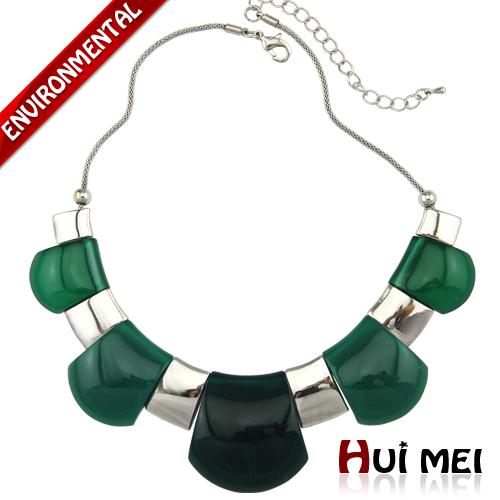 Moda de prata banhado a arma resina clássico jade preto projeto curto colar de moda feminina(China (Mainland))