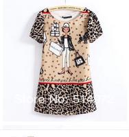 New 2014  Womens European Fashion Cartoon Girl Print Short Sleeve Chiffon Dress Free Shipping