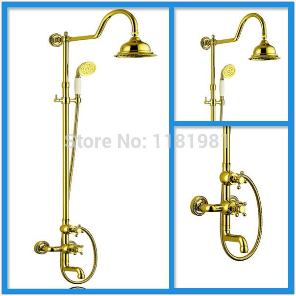 Fashion Gold Single Handle Brass Bath Shower tap Set XR-GZ-6013(China (Mainland))