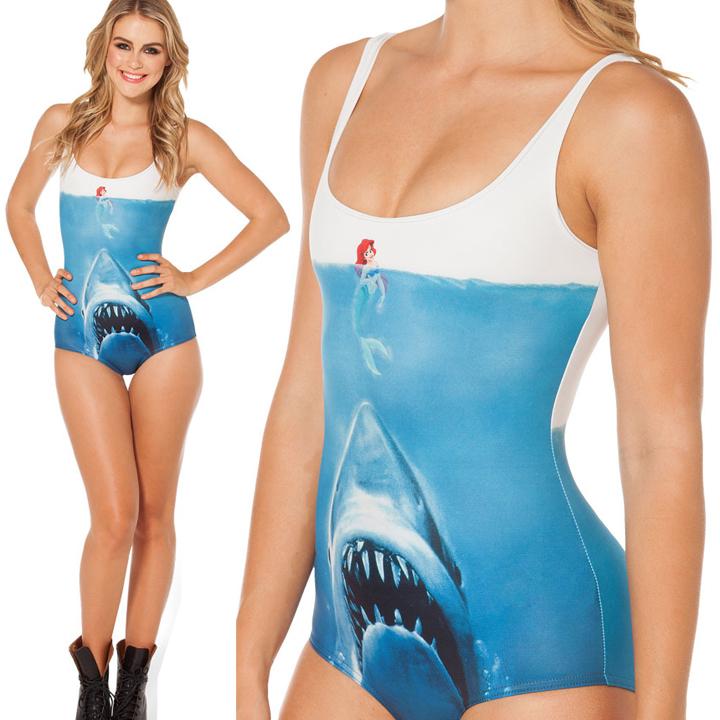 one piece bathing suit women SHARK VS MERMAID swimsuit beach swimwear