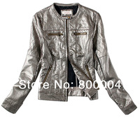 woman metallic leather jacket  free shipping