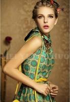 HOT 2014 New Fashion Women Ladies Celeb Inspired Tie Dye Splash Printed Sleeveless Bodycon Dress,Cute Print Dresses